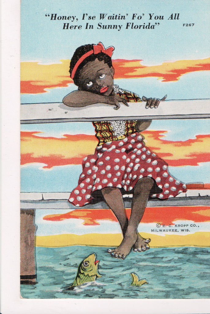 Black Americana - HONEY, I'SE WAITIN FO YOU, girl on a dock - BR0001
