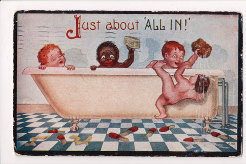 Black Americana - JUST ABOUT ALL IN - white and black kids in tub - C06019