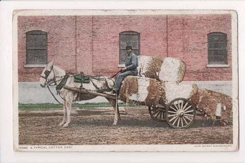 Black Americana - Typical Cotton Cart with huge bales, black driver - C06247