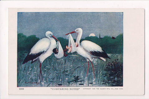 Black Americana - COMPARING NOTES, white and black baby with Storks - E05060-GRT