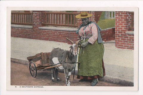 Black Americana - SOUTHERN EXPRESS, lady with Goat cart - E10556