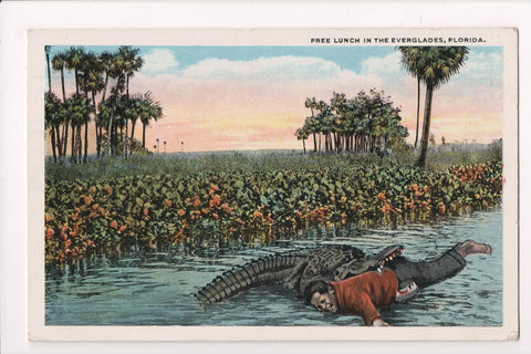 Black Americana - FREE LUNCH IN EVERGLADES, man in alligators mouth - J03346