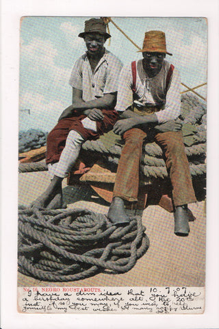 Black Americana - Negro Roustabouts sitting on huge ropes - SL2330