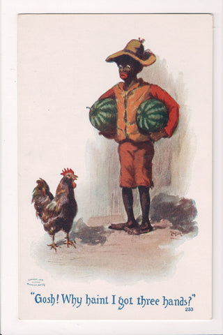 Black Americana - boy holding 2 watermelons, with a chicken - T00219