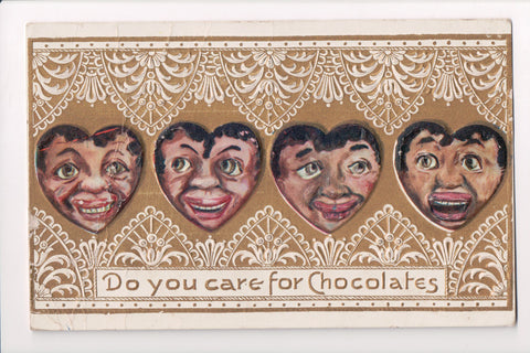 Black Americana - Do You Care for Chocolates - 1912 postcard - A06878