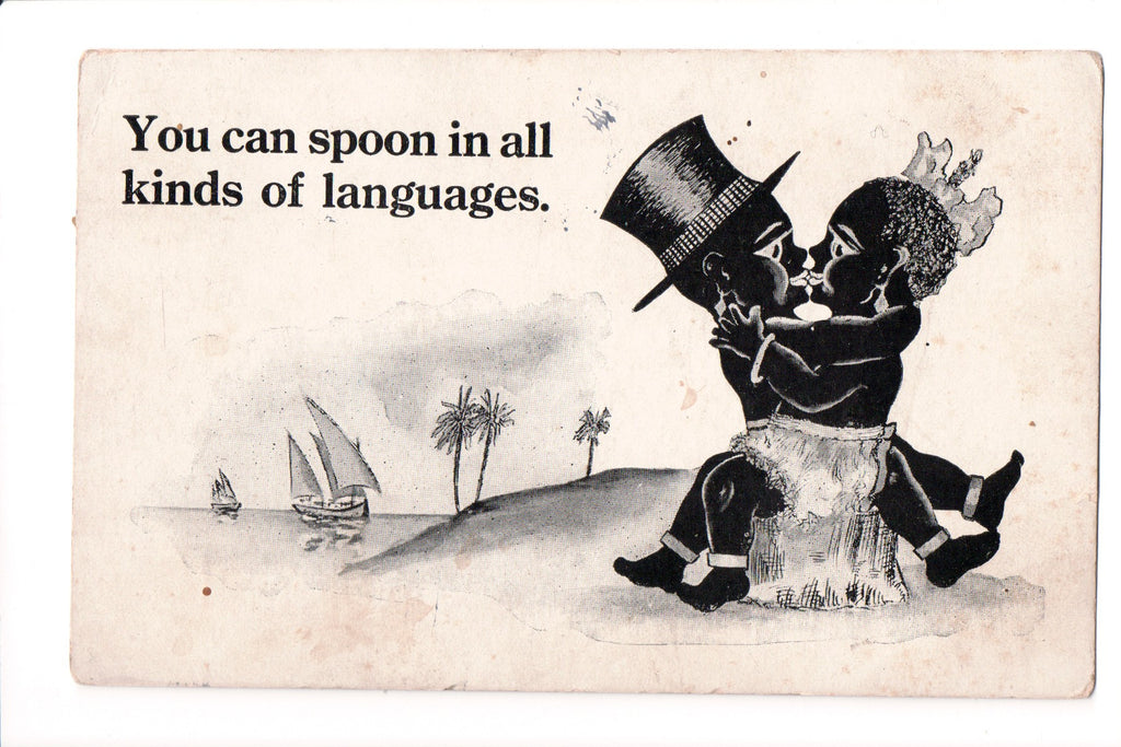 Colorful Postcard Americana And Black >> Black Americana You Can Spoon In All Kinds Of Languages Kissing