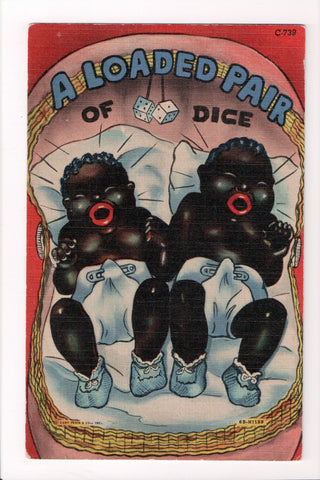 Black Americana - A Loaded Pair of dice - 2 fat, babies in diapers - C17701
