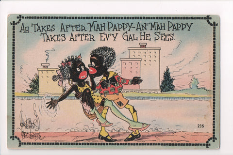 Black Americana - Ah Takes after Mah Pappy - Wellman postcard - C17936