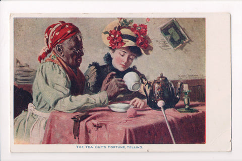 Black Americana - Dark lady, reading white womans tea cup fortune - E10528
