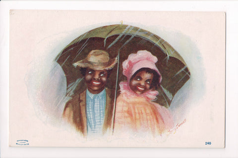 Black Americana - Dark couple sharing an umbrella in rain - T00195