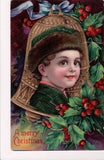 XMAS - Boys face in front of Bell - vintage postcard - C06758