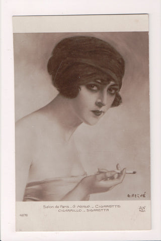 People - Female postcard - Pretty Woman - A N Paris - G Herve - Cigarette - C083