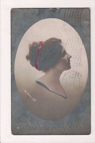 People - Female postcard - Pretty Woman - H Manny RPPC - Birthday - C08377