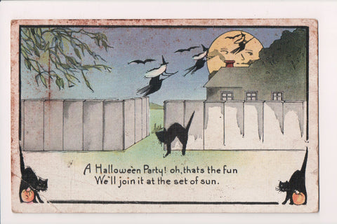 Halloween - Witches with white hair, black cats postcard - C17070