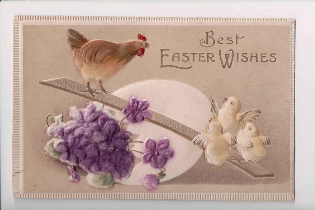 Easter postcard - hen on teeter totter with chicks - FELT - C17173
