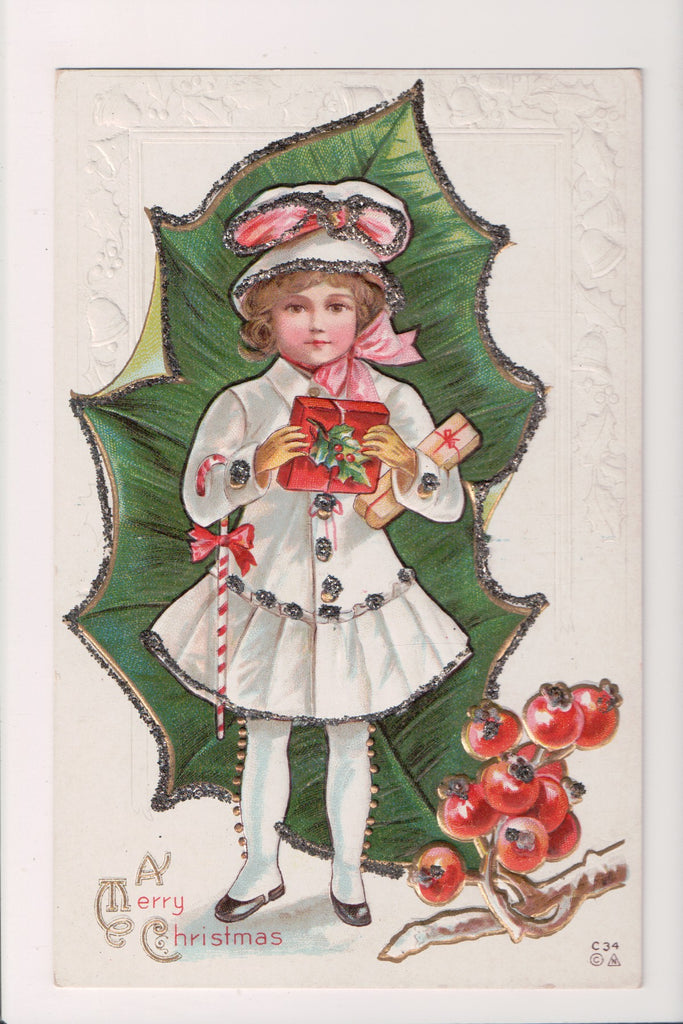 Xmas postcard - Christmas - Girl, gifts, candy cane - C17933