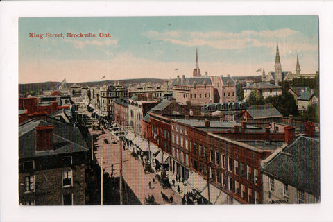 Canada - Brockville, ON - King St Birds Eye view @1918 postcard - w01883