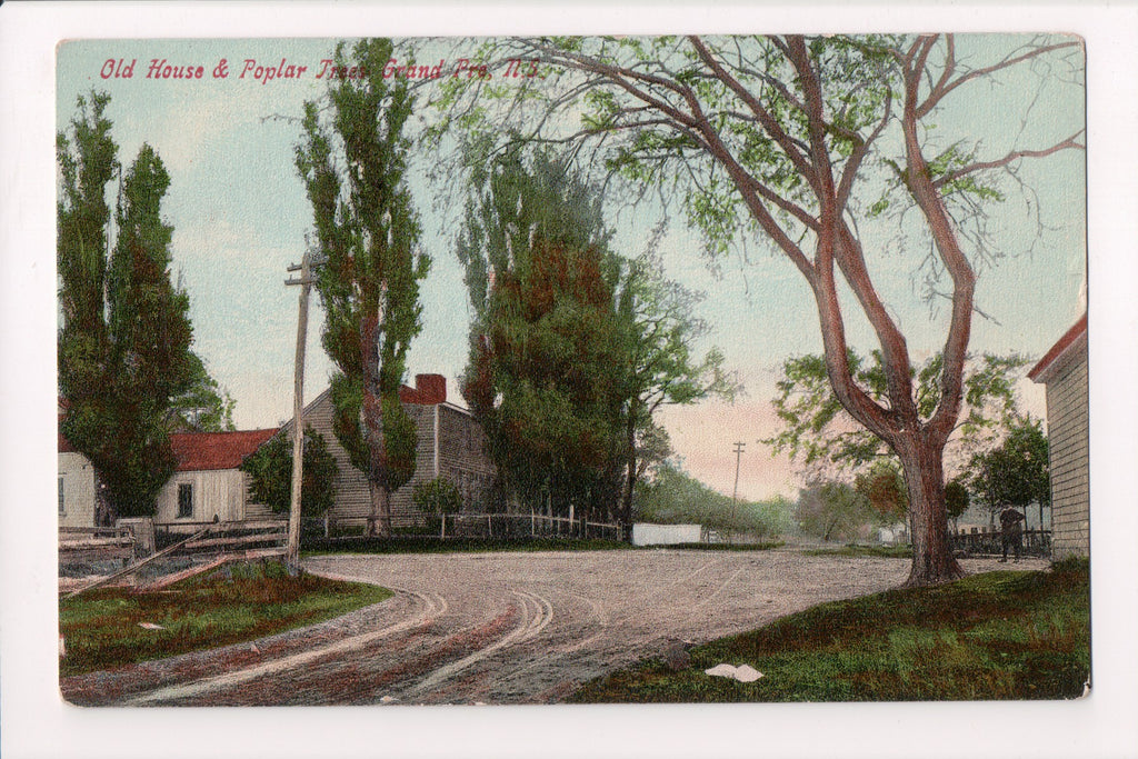 Canada - Grand Pre, NS - Old House, Poplar Trees, old postcard - B11032