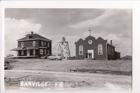Canada - Barville, QUE - Church, men, large bell, old car - RPPC - F11023