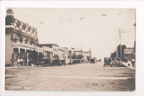 Canada - Mainitou, MB - Street scene with old cars - RPPC - G06001