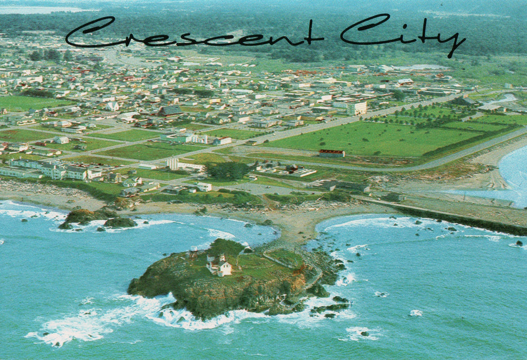 CA, Crescent City - Bird Eye View of lighthouse and City - Continental size - M-0249