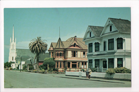 CA, Ferndale - Street Scene, Residences and church - w02401