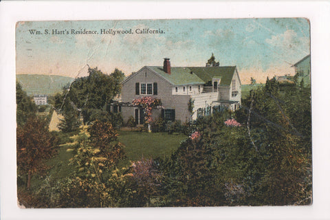 CA, Hollywood - Wm S Harts Residence - @1924 - 605301 - postcard **DAMAGED / AS