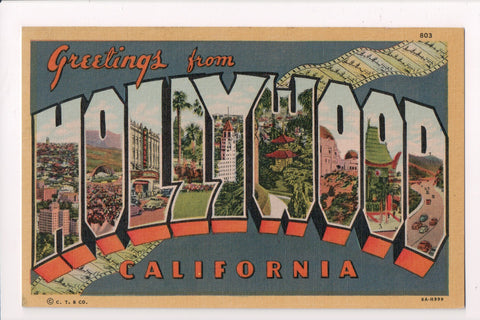 CA, Hollywood - Greetings from, Large Letter postcard - MB0548