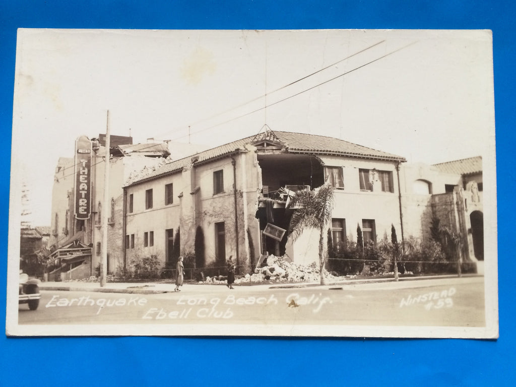 CA, Long Beach - Ebell Club quake damage - Winstead RPPC - F09037