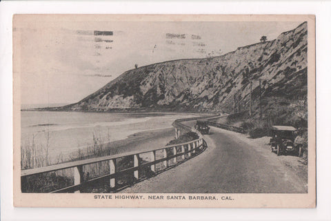 CA, Santa Barbara - State Highway, model T type cars - @1924 postcard - w04623