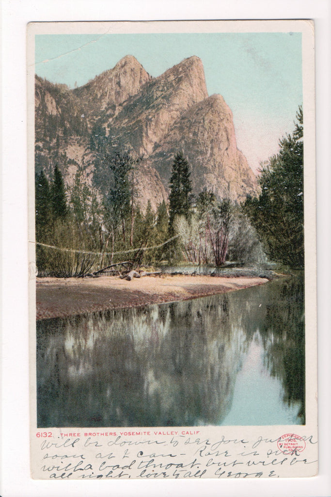 CA, Yosemite Valley - Three Brothers - Detroit Publishing Co - CP0253