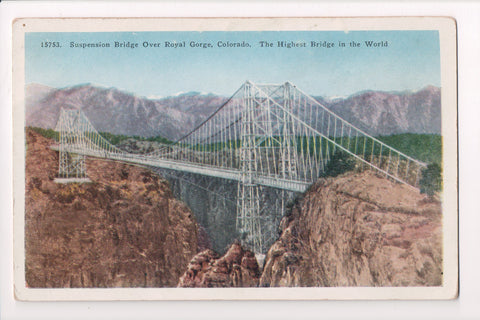 CO, Canon City - Suspension Bridge over Royal Gorge postcard - C08398