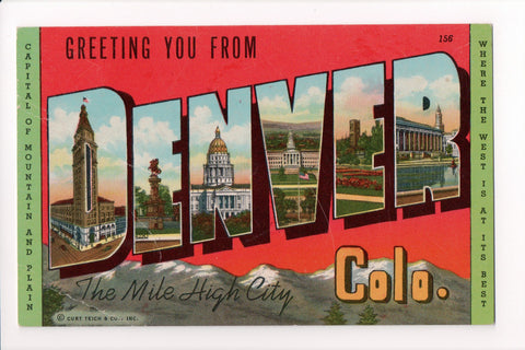 CO, Denver - Greetings from, Large Letter postcard - B05056