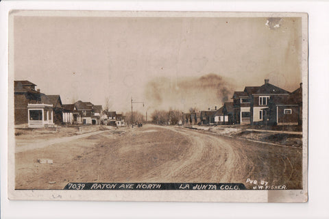 CO, La Junta - Raton Ave - J W Fisher RPPC - B06083