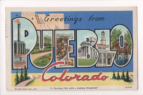 CO, Pueblo - Greetings from, Large Letter postcard - H03104