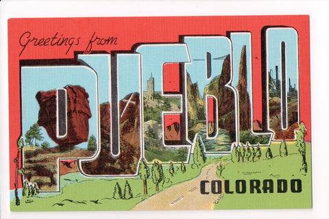 CO, Pueblo - Greetings from, Large Letter postcard - MT0014
