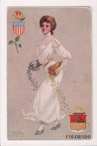 People - Female postcard - Pretty Woman - St John - Colorado - CP0400