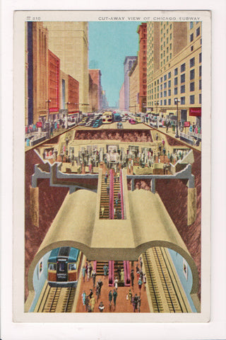 IL, Chicago - CHICAGO SUBWAY cut a way view postcard - cr0031
