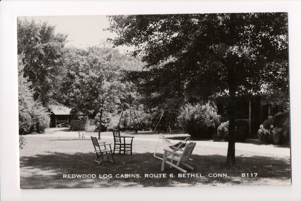 CT, Bethel - Redwood Log Cabins, Route 6 - RPPC - w02405