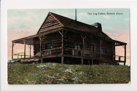 CT, Bristol - The Log Cabin closeup postcard - E04079