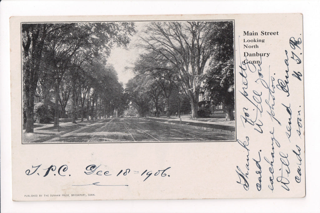CT, Danbury - Main Street  - Dunham Press postcard - S01395