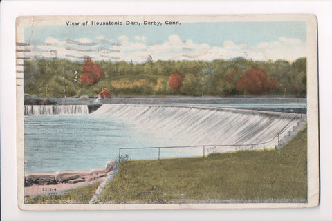 CT, Derby - Housatonic Dam view - Morris Berman postcard - C08651