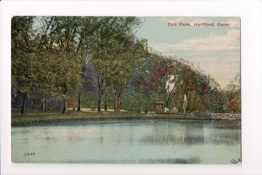 CT, Hartford - Colt Park, fountain, statue, structure, bridge - B06261