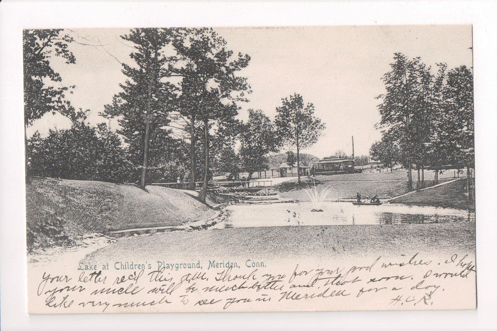 CT, Meriden - Childrens Playground, lake, fountain - Schmelzer - E10379