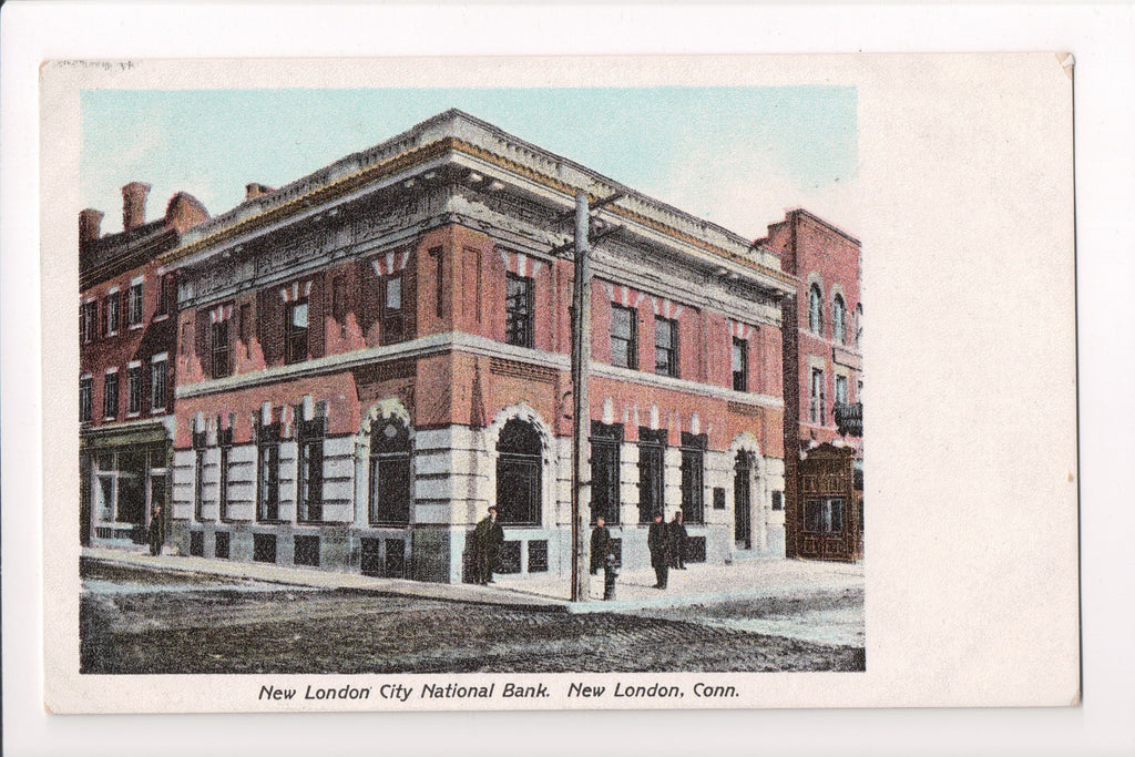 CT, New London - City National Bank closeup - E A Bardol postcard - I03197