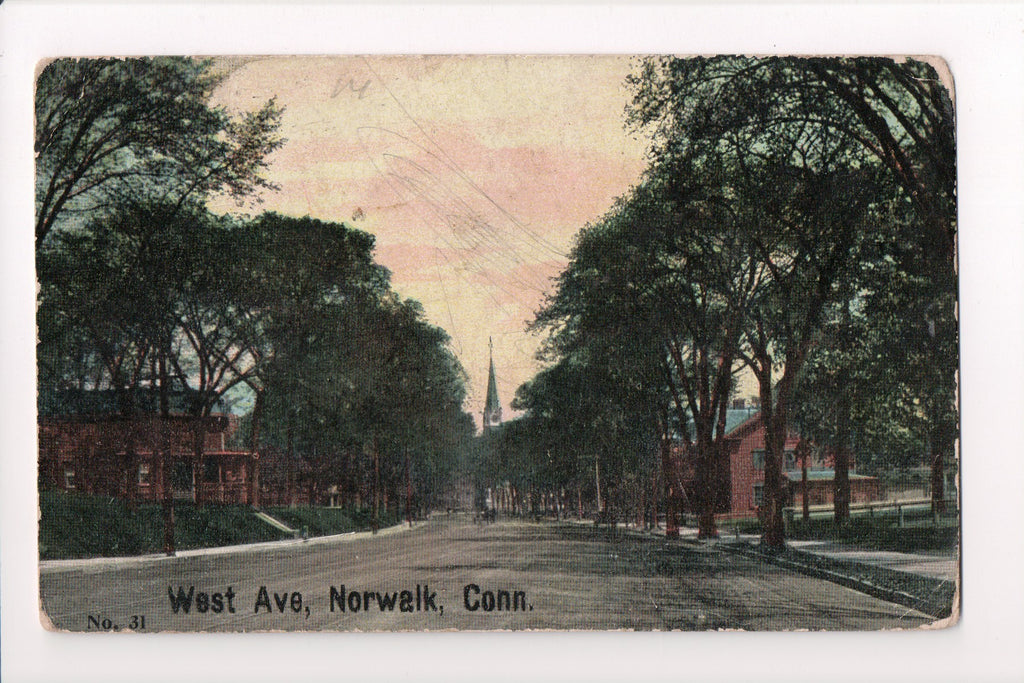 CT, Norwalk - West Avenue postcard - CP0217