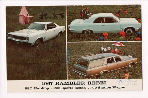 Car Postcard - RAMBLER REBEL (1967) Hardtop, Sedan, Wagon - 800484
