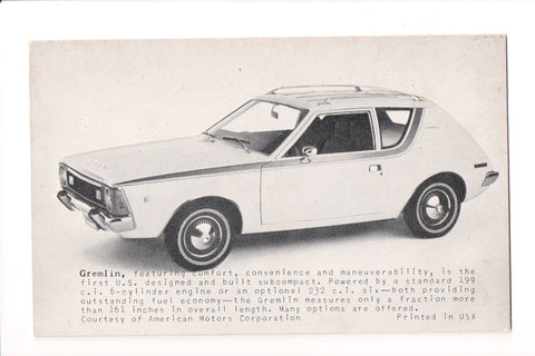 Car Exhibit Card - GREMLIN - American Motors Corp - B05416