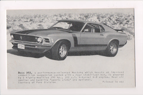 Car Exhibit Card - BOSS 302 Mustang - Ford - sw0046