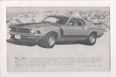 Car Postcard - BOSS 302 Mustang - Ford - sw0060